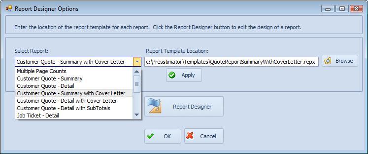 report designer options