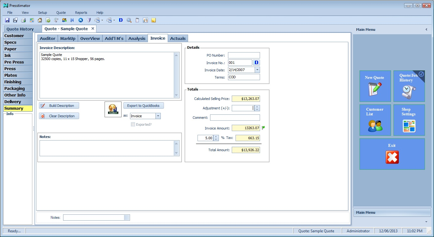 send invoices or estimates directly to QuickBooks